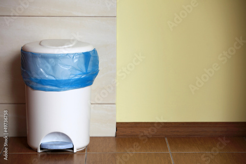 trash can with a plastic bag inside