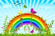 vector illustration of birds sitting on colorful rainbow