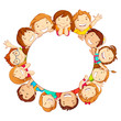 vector illustration of happy kids around circular copy space