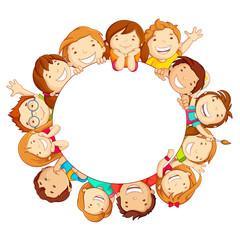 vector illustration of happy kids around circular copy space