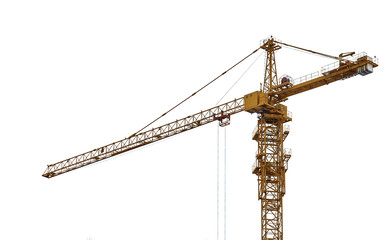 top part of yellow isolated hoisting crane