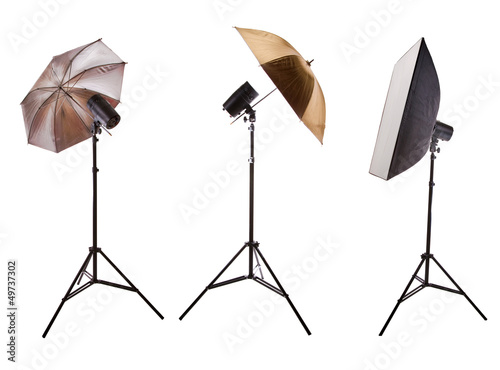 set of photo studio equipment isolated on white