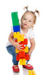 baby girl build house. Isolated on a white