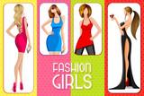 vector illustration of fashionable ladies