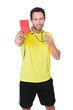 Soccer judge whistling and showing yellow card