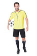 Soccer judge standing with ball