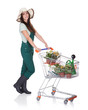 Smiling Attractive Woman Holding Shopping Cart