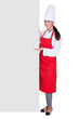 Happy Female Chef Holding Placard