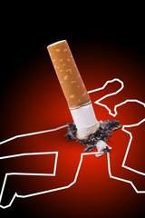 Crime scene - man killed by a cigarette