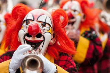Carnival Clowns Playing Trumpet