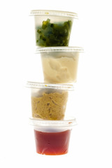 Stack of condiment containers