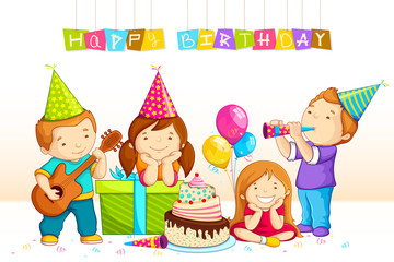 vector illustration of kids celebrating Birthday