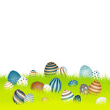 Easter Card Meadow Retro Easter Eggs Green
