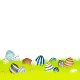 Easter Background Meadow Retro Easter Eggs Green