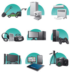 household and electronics appliances icons