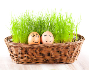 two Funny smiling  eggs in  basket with grass. sun bath.