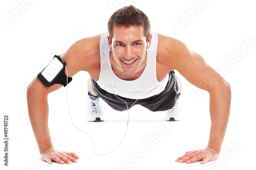 Young sport man doing exercices