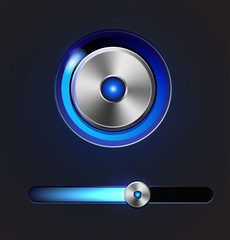 Glossy media player button and track bar