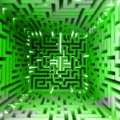 green three dimensional maze block inside look