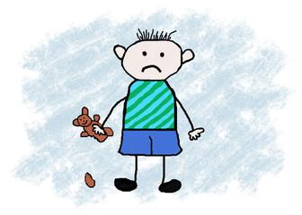 trauriger Junge mit Teddy