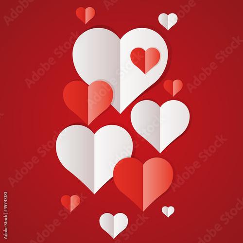 Rote und weiße Herzen
