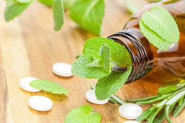 Alternative medicine with homeopathic  pills and herbal