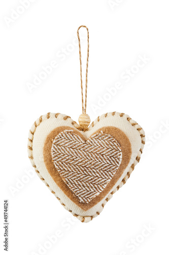 Decorative fabric heart isolated on white