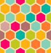 Retro geometric seamless pattern with hexagons