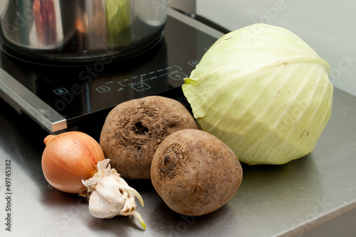 ingridients and vegetables for borscht