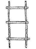 hand drawn, vector, sketch illustration of rope-ladder