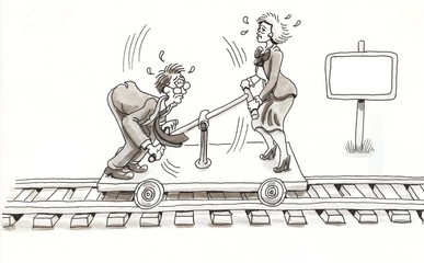Two executives work train car with sweat