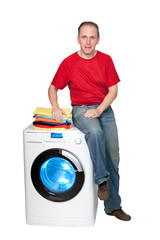 happy man with new washing machine