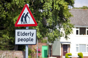Elderly people road sign in English village