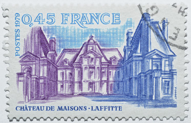 Stamp with castle of Maisons-Laffitte in France