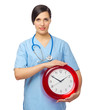 Young doctor with clock