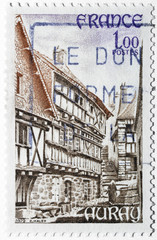 Stamp with the town of Auray in France