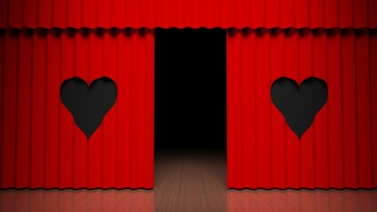 Red curtain on theater stage with heart design