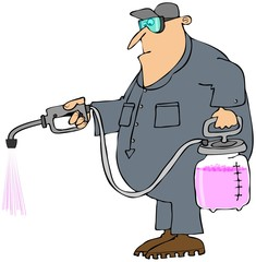 Man spraying chemicals