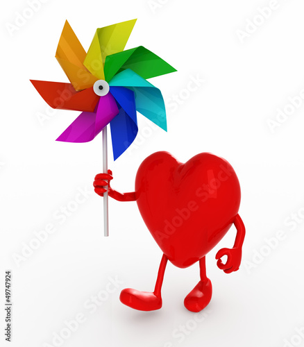 heart with windmill rainbow colored
