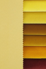Color background of yellow fabric samples