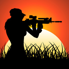 Sniper girl at sunset
