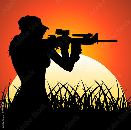 Tuinposter Militair Sniper girl at sunset