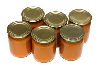 vegetable paste in glass jars