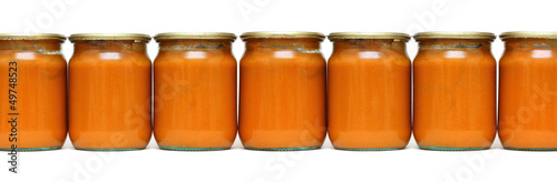 vegetable paste in glass jars