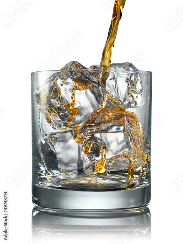 Pouring Scotch Whisky in Glass with perfect ice