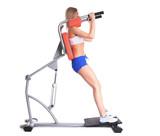 Sporty woman on isodynamic exerciser