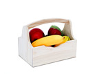Fruit figurine in wooden basket