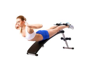 Beautiful woman doing strength training