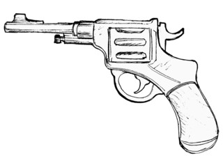 hand drawn, vector, cartoon image of revolver
