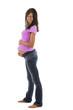 Glückliche Schwangere hält ihren Bauch